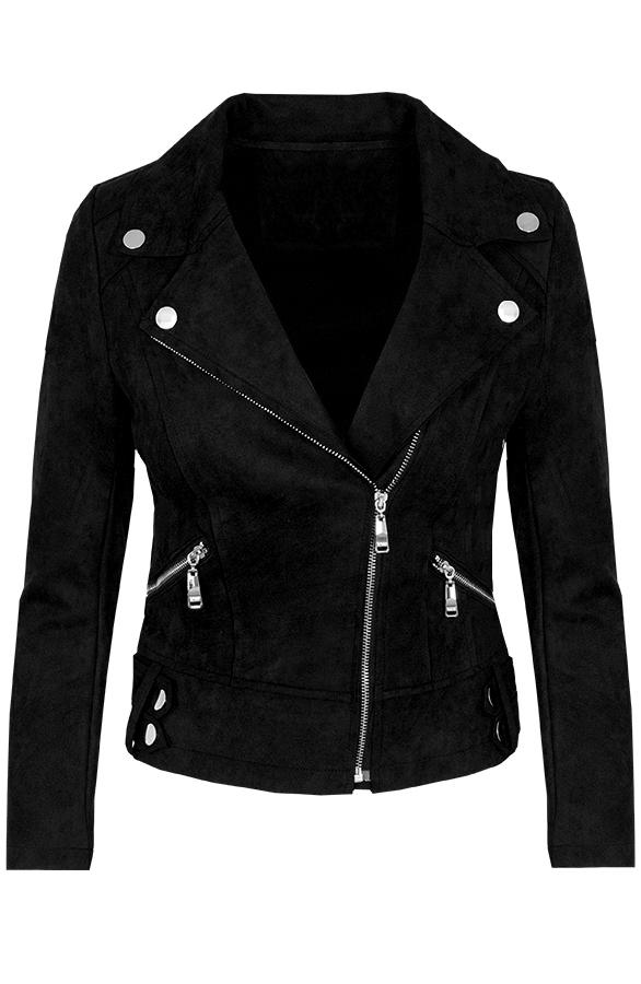 Biker-Jacket-Suede-Zwart'