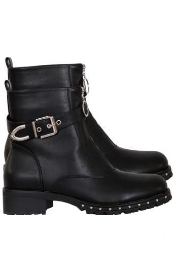 Biker-Boots-Zwart-Rits'