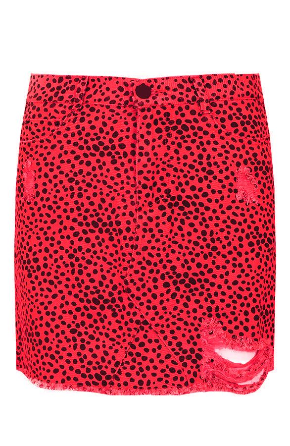 Cheetah-Spijkerrok-Rood'
