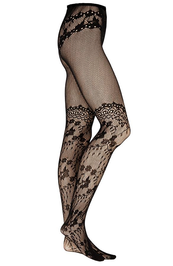 Bloemen-Panty-Zwart-2'