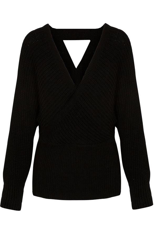 Knitted-Trui-Dames-Zwart'