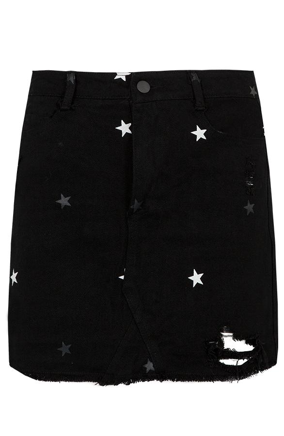 Sterren-Spijkerrok-Zwart'
