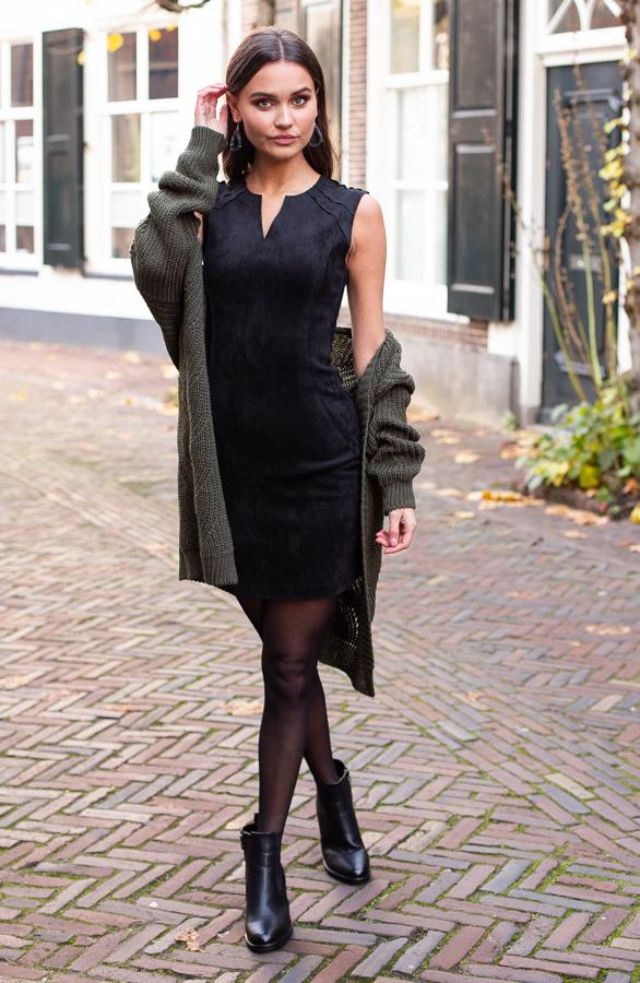 Donna-Suede-Jurk-Zwart-1-1