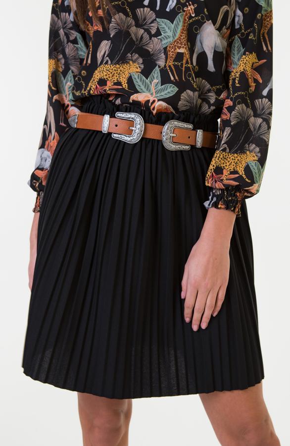 Gina-Plisse-Rok-Dames-Zwart-1