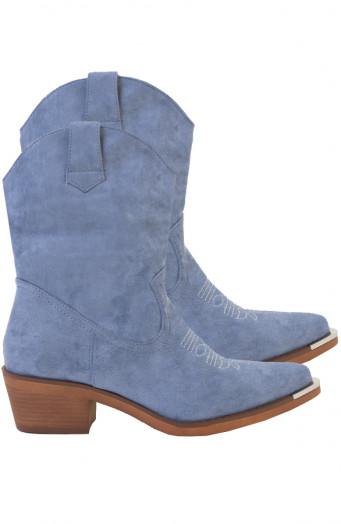 Iris-Cowboylaarzen-Metallic-Blauw'