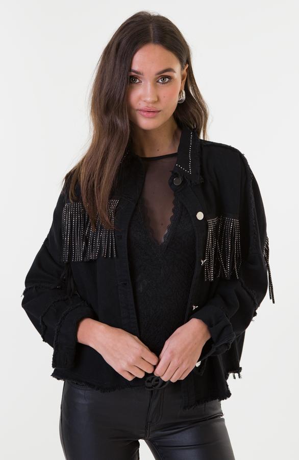 Jess-Fringe-Jacket-Zwart-1'