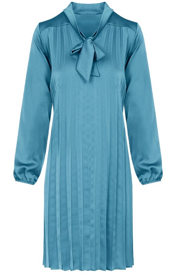 Laurie-Plisse-Jurk-Turquoise'