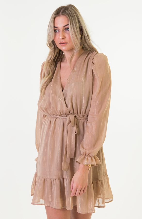Miranda Omslag Ruches Jurk Camel