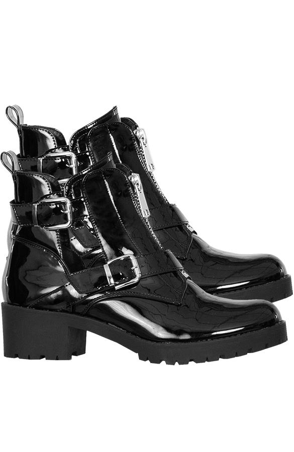 Cindy-Cut-Out-Boots-Lak-Zwart
