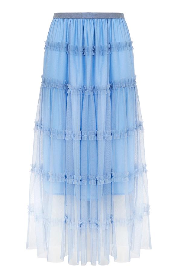 Flore-Tule-Rok-Jeansblauw'