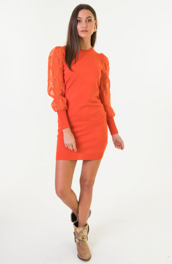 Kim-Pofmouwen-Bloemen-Jurk-Oranje-1'
