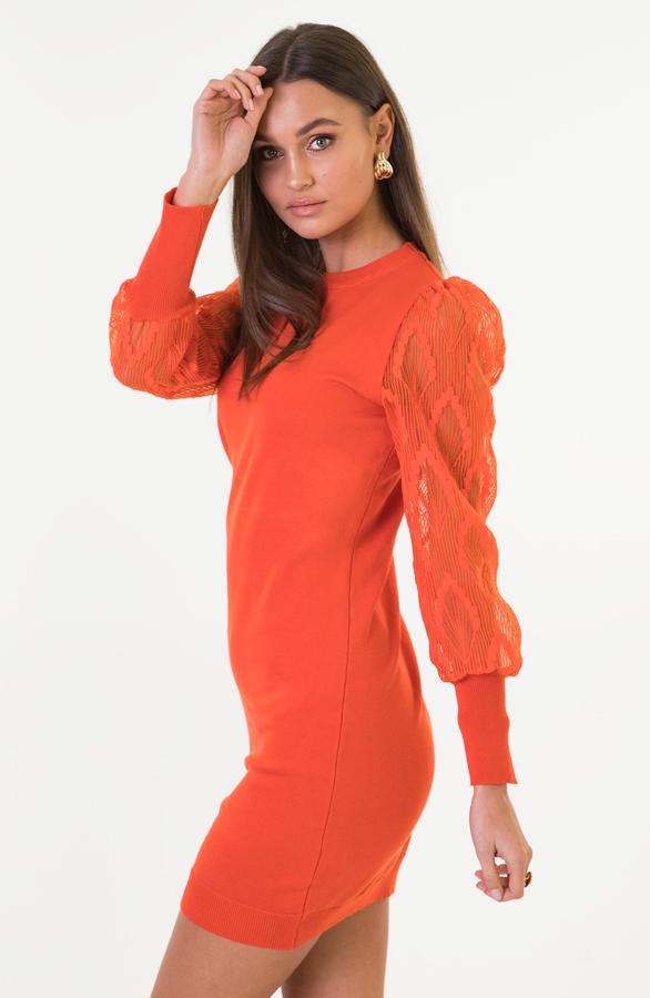 Kim-Pofmouwen-Bloemen-Jurk-Oranje-2