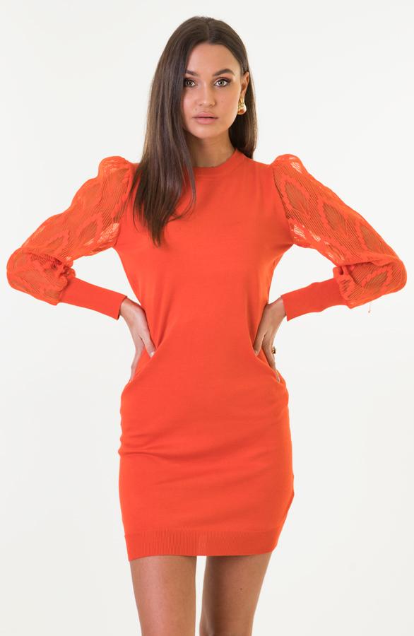 Kim-Pofmouwen-Bloemen-Jurk-Oranje-3