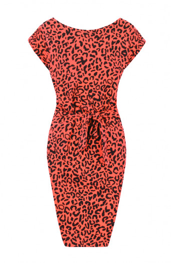 Noa-Leopard-Strikjurk-Koraal'