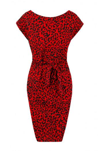 Noa-Leopard-Strikjurk-Rood'